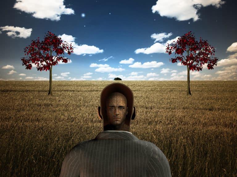 Grafik eines Mannes von hinten, mit einem Kopf im Kopf als Symbol für Anzeichen der Demenz